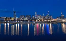 Картинка море, небо, ночь, огни, дома, Австралия, Мельбурн
