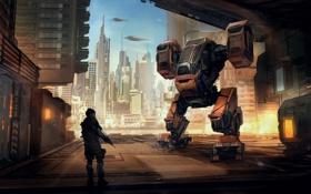 Обои город, человек, робот, небоскребы, порт, охрана, погрузчик