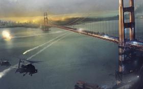 Обои мост, игры, оружие, огонь, война, взрывы, вертолеты
