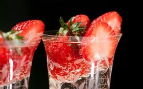 Обои фон, клубника, стаканы, красная, дольки, сочно