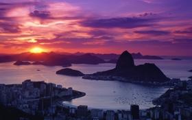 Обои море, горы, восход, дома