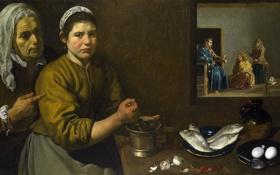 Обои картина, жанровая, мифология, Христос в Доме Марфы и Марии, Диего Веласкес