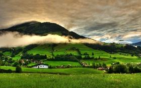 Картинка пейзаж, трава, небо, облака, холмы, зелень, деревня