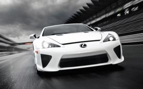 Обои белый, скорость, Lexus, white, лексус, трибуны, LFA