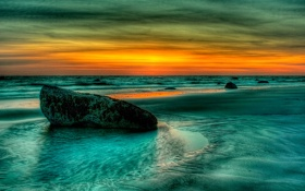Обои камни, берег, небо, облака, зарево, hdr, море
