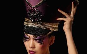 Обои sexy, hat, oriental, makeup