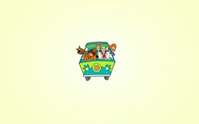 Обои машина, цветок, собака, минимализм, Скуби-Ду, Scooby-Doo, Fred
