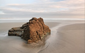 Картинка песок, море, берег, камень, отлив, Морской пейзаж