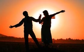 Картинка девушка, солнце, любовь, закат, фон, обои, настроения