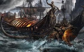 Обои волны, огонь, магия, корабль, парусник, голова, фэнтези