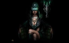 Обои лицо, фон, фантастика, свечи, перья, маска, арт