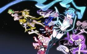 Картинка небо, звезды, девушки, аниме, наушники, арт, парни