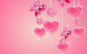 Обои diamonds, love, sparkle, pink, hearts, design, butterflies
