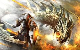 Картинка оружие, огонь, дракон, монстр, меч, воин, арт