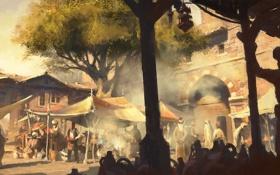 Обои дерево, здание, рынок, базар, Assassin's Creed: Revelations, истамбул