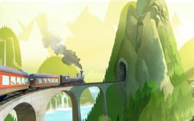 Обои мост, холмы, поезд, туннель