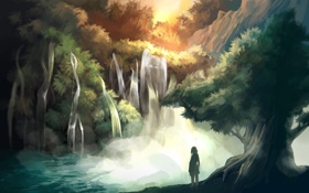 Обои арт, лес, девочка, водопад