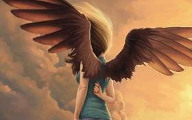 Картинка девушка, ветер, волосы, крылья, ангел, арт, спиной