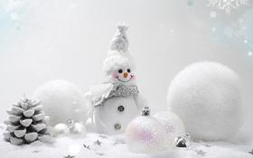 Обои зима, шарики, снег, украшения, фон, шары, игрушки