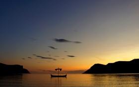 Обои море, небо, берег, побережье, силуэт, Норвегия, драккар