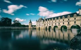 Картинка замок, пруд, деревья, Франция, небо, башня, озеро