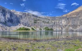 Картинка небо, горы, озеро, скалы, панорама