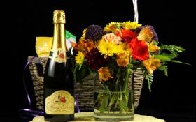 Обои бутылка, букет, ваза, черный фон, шампанское, корзинка, герберы