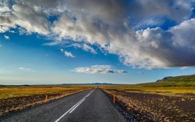 Картинка дорога, небо, облака, горы, горизонт