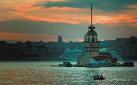 Обои причал, суда, Босфор, Стамбул