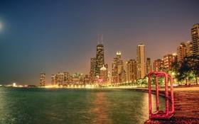 Картинка ночь, огни, река, здания, небоскребы, USA, америка