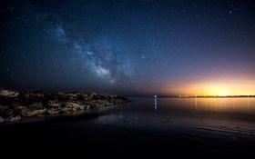 Обои пейзаж, звезды, ночь, небо, море