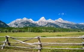 Обои поле, горы, природа, забор, Grand Teton