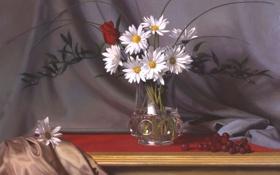 Картинка цветы, ягоды, стол, роза, ромашки, картина, шелк