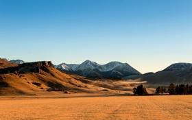Обои new zeland, небо, рассвет, поле, горы, Новая Зеландия