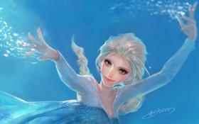 Картинка арт, лед, холод, Frozen, Walt Disney, Snow Queen Elsa, взгляд
