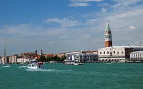 Обои небо, катер, Италия, Венеция, канал, дворец дожей, камнанила