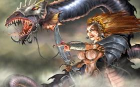 Обои дракон, колдунья, шаманка, RB White