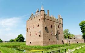 Обои трава, деревья, замок, село, дома, Нидерланды, мосты