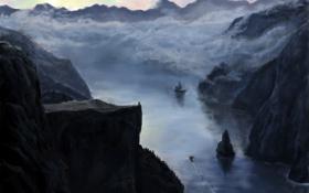 Обои пейзаж, река, скалы, облака, ущелье, человек, арт