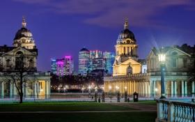 Обои ночь, город, парк, Англия, Лондон, здания, освещение