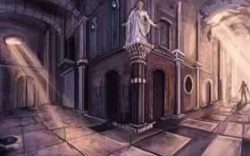 Обои улица, тень, арт, статуя, арки, парень, лучи света