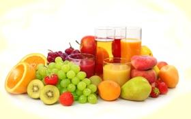 Картинка ягоды, апельсин, киви, клубника, сок, виноград, груша
