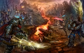 Обои воины, скалы, броня, меч, битва, армия, шлем
