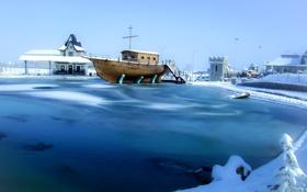 Картинка зима, небо, снег, дом, пруд, лодка, башня