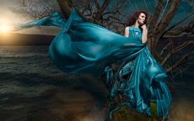 Картинка вода, девушка, река, дерево, вечер, платье, Daniel Ilinca