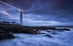 Картинка море, берег, маяк, вечер, сумерки, учи