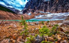 Обои ледник, камни, небо, облака, канада, озеро, Canada