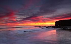 Картинка море, закат, скалы, вечер