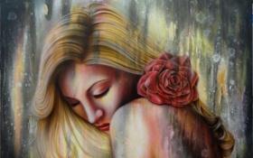 Обои цветок, девушка, волосы, роза, арт, живопись, плечи