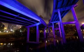 Обои ночь, мост, usa, texas, houston
